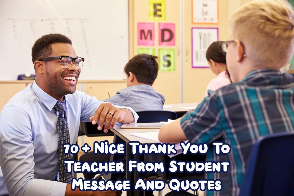 Thank You To Teacher From Student